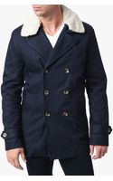 7 For All Mankind Fur Collar Peacoat - Lyst