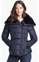 Dawn Levy Mackenzie Genuine Rabbit Fur Trim Down Jacket - Lyst