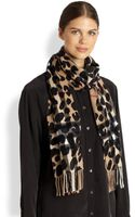 Burberry Cashmere Leopardprint Check Scarf - Lyst