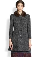 Dolce & Gabbana Wool Chevron Mink Collar Coat - Lyst