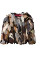 MSGM Cropped Fur Jacket - Lyst