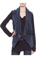 Donna Karan New York Ribbedshearling Drape Vest - Lyst