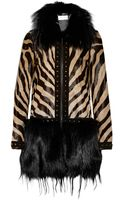 Emilio Pucci Printed Calf Hair Goat and Fox Coat - Lyst