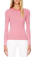 Michael Kors Striped Cashmere Top - Lyst