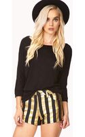 Forever 21 Stand Out Metallic Striped Shorts - Lyst