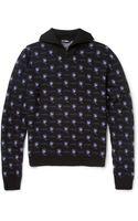 Raf Simons Patterned Zip-collar Merino Wool Sweater - Lyst