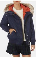 Topshop Hooded Bomber Jacket with Faux Fur Trim - Lyst