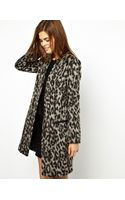 French Connection Leopard Coat - Lyst