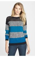Two By Vince Camuto Mixed Stitch Stripe Cotton Blend Sweater - Lyst