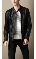 Burberry Soft Leather Racer Jacket - Lyst