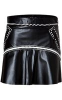 Roberto Cavalli Leather Skirt in Black white - Lyst