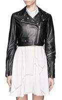 Acne Studios Cropped Leather Biker Jacket - Lyst