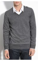 Burberry Brit Trim Fit Vneck Merino Wool Sweater - Lyst