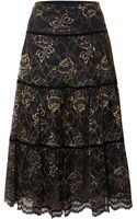 Lauren by Ralph Lauren Tiered Mini Skirt in Lace - Lyst