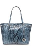 Michael by Michael Kors Jet Set Embellished Embossed Leather Small Travel Tote Bag - Lyst