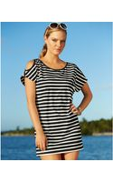 Michael Kors Short-Sleeve Striped Cutout Cover Up   - Lyst