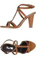 Calvin Klein Snake-Skin High-Heeled Sandals - Lyst