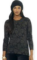 Lauren by Ralph Lauren Petite Filigree Print Zip Collar Sweater - Lyst