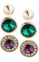 Rachel Rachel Roy Goldtone Multicolor Crystal Stud Earring Set - Lyst