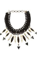 Vickisarge Goldplated Swarovski Crystal and Wood Necklace - Lyst