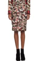 Givenchy Rose Print Pencil Skirt - Lyst