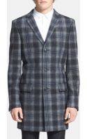 Topman Plaid Wool Blend Coat - Lyst