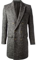 Ami Tweed Double Breasted Coat - Lyst