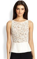 Bailey 44 Lace Combo Peplum Top - Lyst