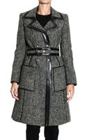 Balenciaga Coat Trench Tweed Houndstooth with Leather Hems - Lyst
