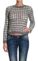Ermanno Scervino Sweater Long Sleeve Wide Neckline Jacquard Lozange - Lyst