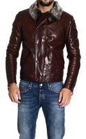 Giorgio Armani Down Jacket Leather Jacket with Sheepskin Neck - Lyst