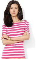 Lauren by Ralph Lauren Petite Striped Half Sleeve Boat Neck Top - Lyst