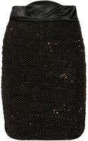 Pierre Balmain Draped Studded Stretchjersey Skirt - Lyst