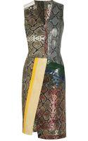 Preen By Thorton Bregazzi Python and Stretch Cottonblend Dress - Lyst