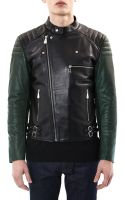 McQ by Alexander McQueen Contrast Sleeve Leather Biker Jacket - Lyst