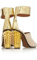 Fendi Metallic Leather and Suede Sandals - Lyst