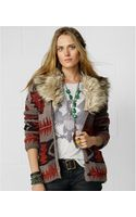 Denim & Supply Ralph Lauren Faux  Fur Collar Intarsia Knit Cardigan - Lyst