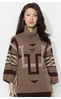 Lauren by Ralph Lauren Graphic Pattern Turtleneck Sweater - Lyst
