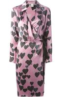 Lanvin Heart Print Wrap Dress - Lyst