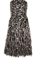 Oscar de la Renta Feather and Pailetteembellished Silkorganza Dress - Lyst