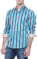 Robert Graham Barsino Striped Sport Shirt Blue - Lyst