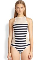 T By Alexander Wang Mesh-paneled Striped Racer-back Swimsuit - Lyst