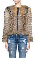 Mo&co. Edition 10 Leather Trimmed Fur Jacket - Lyst