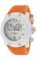 Glam Rock Womens Miami Beach Chronograph White Dial Orange Silicone Glamrock Watch - Lyst