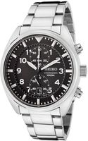 Seiko Womens Black Dial Stainless Steel Chronograph - Lyst