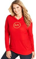 Michael Kors  Plus Size Studded Logo Hoodie - Lyst