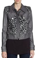 BCBGMAXAZRIA Leather and Leopardprint Cropped Jacket - Lyst