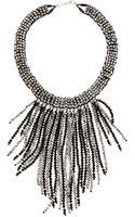 Panacea Crystal Beaded Fringe Necklace Silverblack - Lyst