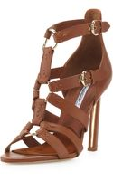 Brian Atwood Strappy Leather Sandal Brown - Lyst