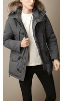 Burberry Downfilled Technical Parka with Fur Trim - Lyst